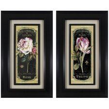 Floral Panel Garden View Black 2 Piece Framed Graphic Art Set