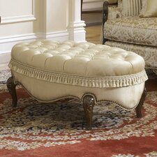 Imperial Court Wood Trim Cocktail Ottoman