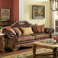 Toscano High Back Leather and Fabric Sofa