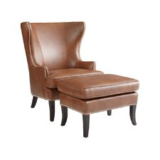 Royalton Bonded Leather Armchair and Ottoman