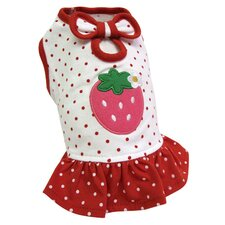 Adorable and Lightweight Dog Dress with Polka Dots and a Strawberry Patch