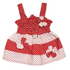 Polka Dots Dog Sundress with Contrasting Flowers