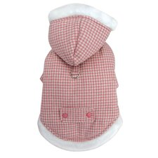 Thick and Warm Houndstooth Dog Coat with Detachable Hood