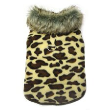 Adorable Padded Leopard Print Dog Vest with Fur Collar
