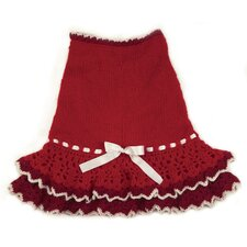 Glamourous Hand Knit and Crochet Layered Dog Dress