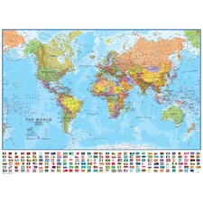 World with Flags 1:30 Laminated Wall Map