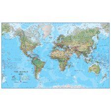 World Physical 1:30 Laminated Wall Map