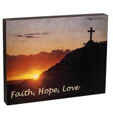 Summit Cross and Sunset Faith, Hope, Love Wall Art