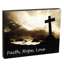 Summit Cross and Clouds Faith, Hope, Love Wall Art