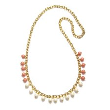 Timeless Beauty Crystal Coral Cultured Pearl and Crystal Cultured Pearl Blake Necklace