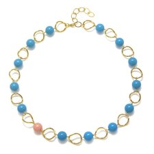 Timeless Beauty Crystal Lapis Cultured Pearl and Crystal Coral Cultured Pearl Eliza Necklace