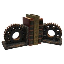 Gear Wooden Book End (Set of 2)