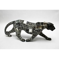 Mosaic Leopard Walking Resin Statue