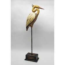 Shore Bird Crane with Base Resin Statue