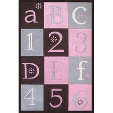 Abacasa Kids ABC123 Pink/Chocolate/Grey Area Rug