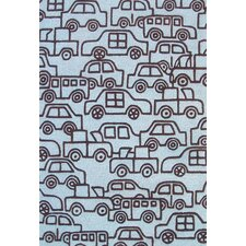 Abacasa Kids Wheels Lt. Blue/Chocolate Area Rug