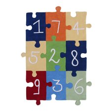 Abacasa Kids Numbers Puzzle Navy/Red/White/Orange Area Rug