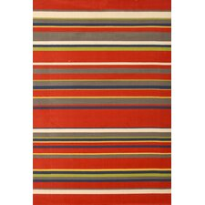 Jax Red Stripes Area Rug