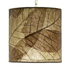 Tectona Teak Leaf Round Hanging Drum Pendant