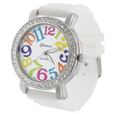 Geneva Women's Platinum Large Round Face Watch