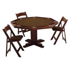 57'' Oak Pedestal-Base Poker Table Set