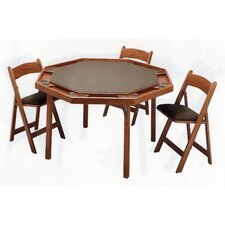"57"" Oak Contemporary Folding Poker Table Set"