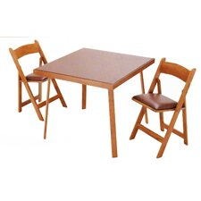 "35"" Oak Folding Card Table Set"
