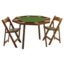 "<strong>Kestell Furniture</strong> 46"" Oak Compact Folding Poker Table Set"