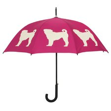 Dog Park Pug Walking Silhouette Stick Umbrella