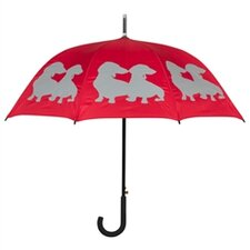 Dog Park Dachshund Two Puppies Silhouette Walking Stick Umbrella