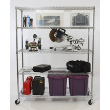 Five Tier NSF Extra Large Commercial Grade Shelving Unit in Chrome