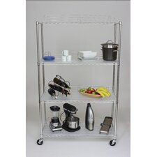EcoStorage™ 4-Tier NSF Shelving Unit in Chrome