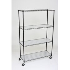 4 Tier Wire Shelving Rack with Wheels and Liners
