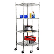 "EcoStorage NSF Corner Wire Wheeled Corner 77"" H 4 Shelf Shelving Unit"