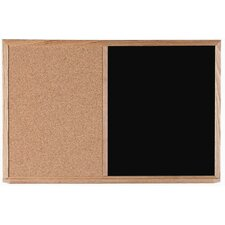 Combination Bulletin Board and Black Chalkboard with Wood Frame