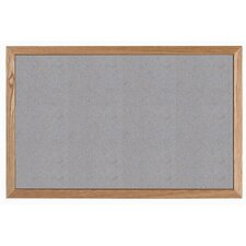 Grey Vinyl Impregnated Cork Bulletin Board with Wood Frame