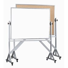 Reversible Free Standing Whiteboard and Bulletin Board