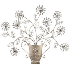 Flower Pot and Flowers Metal Art