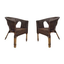 <strong>Fox Hill Trading</strong> Rattan Living Wicker Dining Chair (Set of 2) (Set of 2)