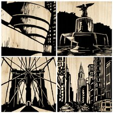 New York City 4 Piece Graphic Art Plaque (Set of 4)