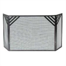 Chevron 3 Panel Steel Fireplace Screen