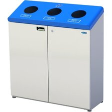 Three Stream Free Standing 45 Gallon Multi Compartment Recycling Bin