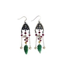Gemstone Chinese Melody Luck Bats Drop Earrings