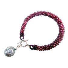 Double Happy Garnet Charm Bracelet