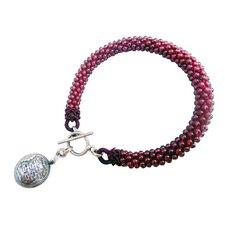 Double Happy Garnet Charm Bracelet