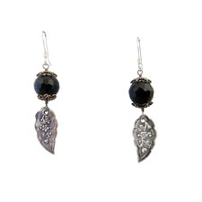 Leaves Black Onyx Drop Earrings