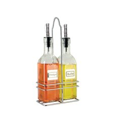 6 oz. French Oil and Vinegar Bottle with Caddy (Set of 2)