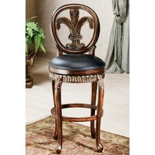 "Fleur De Lis Triple Leaf 30"" Swivel Bar Stool"