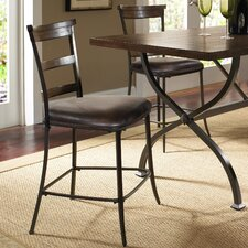Cameron Ladder Back Non-Swivel Counter Stool in Distressed Chestnut Brown (Set of 2)