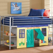 Universal Junior Twin Low Loft Bed with Bookshelves and Built-In Ladder
